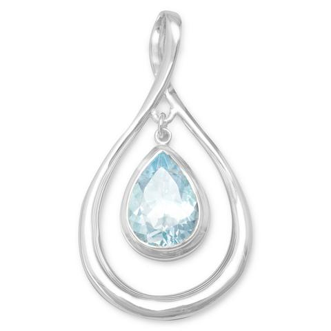 Blue Topaz Drop Pendant .925